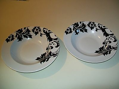 STONEWARE HOME  BLACK AND WHITE DAMASK 2 SOUP BOWLS