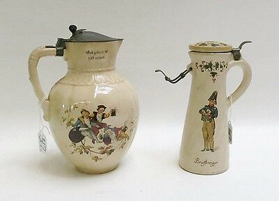 TWO METTLACH POTTERY LIDDED PITCHERS with print u Lot 517