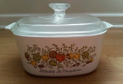 Vintage Corning Ware A-B-3  Spice of Life 3 qt. Casserole with Pyrex A-9-C lid