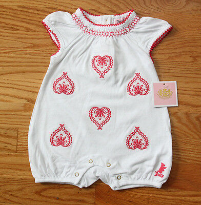 Juicy Couture Baby Girl Romper ~White with Pink Embroidered Hearts~Spring/Summer
