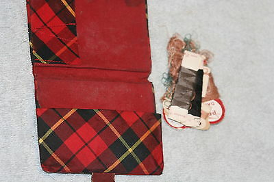 ANTIQUE c1800's TARTAN SEWING & NEEDLE CASE & THREADS