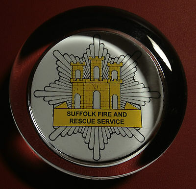 SUFFOLK FIRE & RESCUE SERVICE   70mm  GLASS PAPERWEIGHT