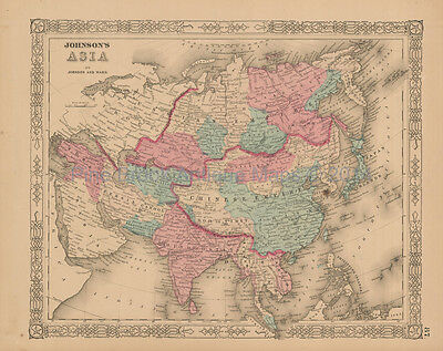 Asian Continent Antique Map Johnson 1863 Original