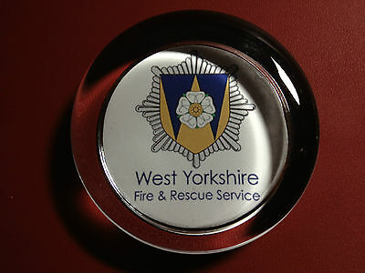 WEST YORKSHIRE  FIRE & RESCUE SERVICE   70mm  GLASS PAPERWEIGHT