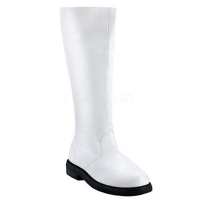 CAPTAIN-100 MENS Astronaut Space Captain White Halloween Costume Knee Boots