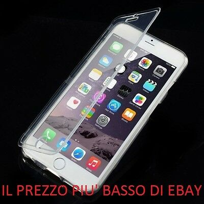 CUSTODIA FLIP COVER TRASPARENTE TOUCHSCREEN MORBIDA FLESSIBILE PER IPHONE 6 PLUS