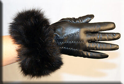Brand New Black Lambskin Leather Gloves Black Fox Fur Trim and Cashmere Lining