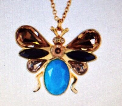 kate spade Unwanted Visitor turquoise blue gold necklace pendant charm NEW $98