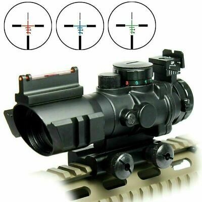 New 4X32 Prismatic Rifle Scope with Fiber Optic Sight Tri-illuminated Recticle