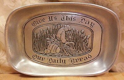 Vintage RWP Wilton Armetale Give Us Our Daily Bread Plate Pewter Handmade Rare