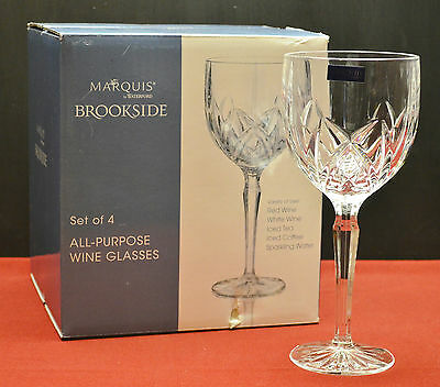 Set of 4  Brookside All Purpose Wine Glasses- Marquis by Waterford Crystal  NIB