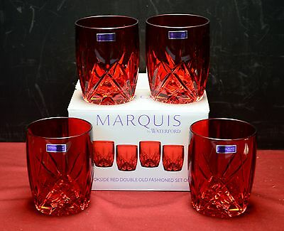Waterford Crystal - Marquis Brookside Red Double Old Fashion (DOF) Glass set NIB