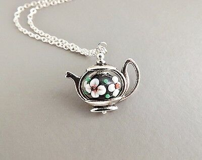 Teapot & flower lampwork glass pendant necklace .. silver tone bead cute jewelry