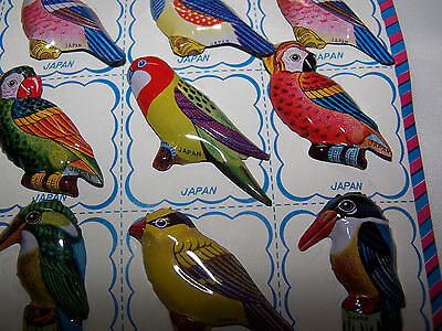 Vintage Japan Tin Litho Parrot Bird Pin Brooch NOS Full Card 12 Pcs Shipped FREE