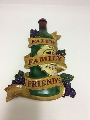 "3D Wine Theme Grapes Wall Plaque!! Brand New! ""Faith, Family, Friends""! Resin!"