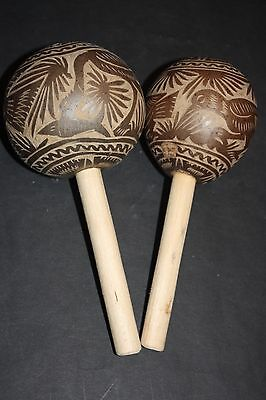 2 MEXICAN SHAMANIC ART MARACAS SHAKERS ANTIQUE MUSICAL PERCUSSION INSTRUMENT