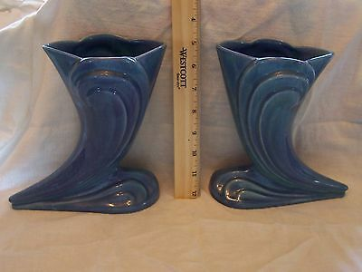 """Vintage KTK Knowles Tyler Knowles Hand Made Set Pottery Vases Blue 7.5"""" Tall"""