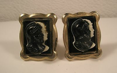 Cameo Helmeted Warrior Vintage Cuff Links Gold Tone Quality Gift