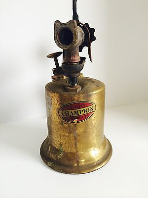 """ANTIQUE / VINTAGE BRASS  BLOWTORCH  / BLOW TORCH  """"Quality Champion Products"""""""