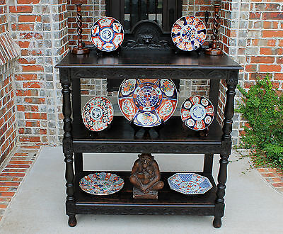 Antique French Oak Gothic Lion's Mask 3-Tier Sideboard Server Buffet 19th Cent
