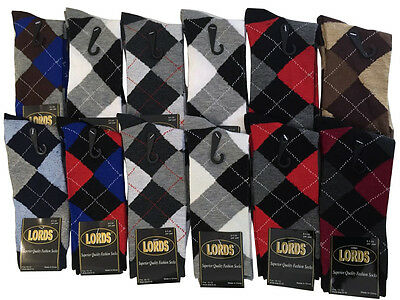 12 Pairs New Cotton Men's Lords Argyle Style Dress Socks Size 10-13 Multi-color
