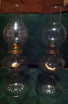 Set Of 2 Vintage Oil Lamps~anchor Hocking And Eagle