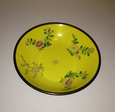 Asian Brass Porcelain Ware Hand Painted Bowl in Hong Kong for AMM Coloisonne