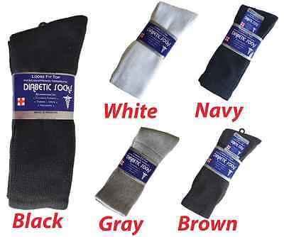 3, 6, or 12 Pairs Diabetic CREW circulatory Socks Health Men's Cotton ALL SIZE