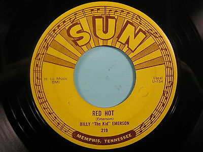 """BILLY """"The Kid"""" EMERSON 45 Red Hot SUN rockabilly original with pushmarks VG+"""