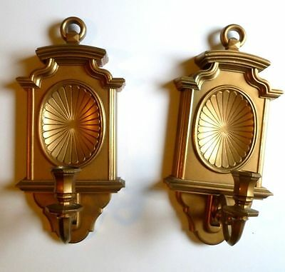 """Vintage Home Interiors Gold Sconce Pair 13"""" 1982 Homco Candle Holder Classic"""
