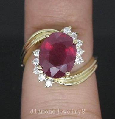 Solid 14K Yellow Gold Genuine 4.80ct Natural Blood Ruby Engagement Diamond Ring