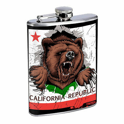 CALIFORNIA REPUBLIC BEAR D1 Flask 8oz Stainless Steel State Animal