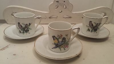 Vintage Bird Expresso/Demitasse Cups and Saucers Set of three #7837