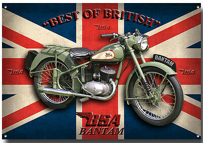 Lge A3 Size Bsa Bantam Motorcycle Enamelled Metal Sign.vintage,enthusiast