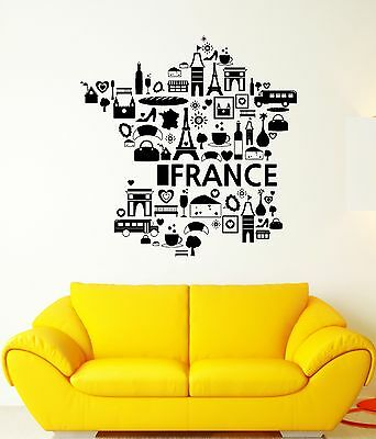Wall Decal France The Eiffel Tower Wine Croissant Cheese Vinyl Stickers (ed089)