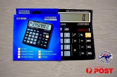 Calculator 12 Digit LCD Dual Power Desktop Check and Correct Citizen CT 555N
