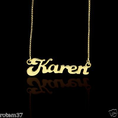 """14k Gold Plated Necklace Name Over 925 Sterling Silver personalize 14mm 0.51"""""""