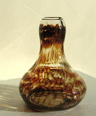 Mini Bud Vase of Brown Swirl Glass Handcrafted in Burnsville, NC