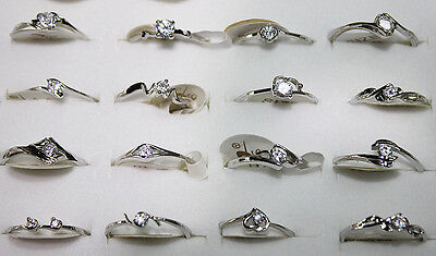 Wholesale Lots 50pcs zircon Silver Plated clear color Wedding Party rings