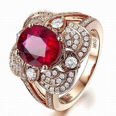 Solid 18K Rose Gold Genuine 5.25ct Natural Blood Ruby Engagement Diamond Ring