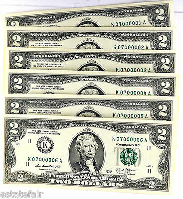 2013  $2 Bills (6) with Consecutive Numbers each with 6 Zero's K07000001- 6  C/U