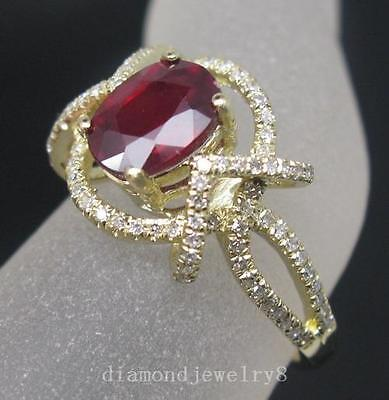 Solid 14K Yellow Gold Genuine Natural VS Diamond Blood Ruby Engagement Ring