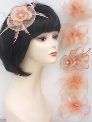 Peach Nude Fascinator Brooch Clip Hair Feather Flower Wedding Ladies Day Races