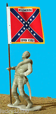 MARX CIVIL WAR SOLDIER AND FLAG-Wounded CONFEDERATE