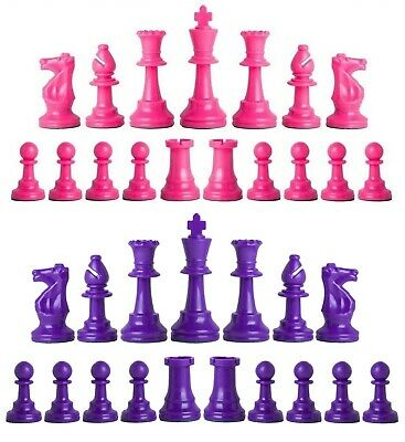 Staunton Triple Weighted Chess Pieces – Full Set 34 Pink & Purple - 4 Queens