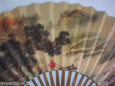Chinese Asian Painted Fan Paper Signed and Calligraphy Man Bull Landscape