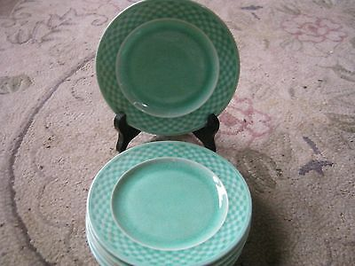 W S George 6 Vintage green basket weave edge 61/4 inch bread and butter plates
