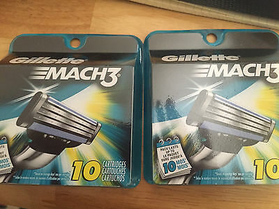 Gillette Mach 3 Razor Refill 10 Pack Cartridges x 4 New = 40 total