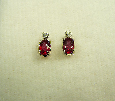 NEW 1.46 carat 14kt White Gold Genuine Ruby Earrings with Diamond Accents!!