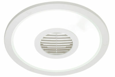White Heller Round 250mm Ceiling Light/Exhaust Fan/Air flow/bathroom/laundry